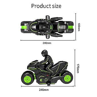 High speed Remote Control Side Line Stunt Motorcycle Stunt Car Drift Children's Toy Racing(Green)