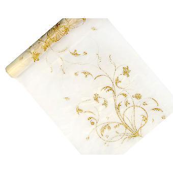 36cm x 9m Cream Tulle Net Roll with Gold Glitter Brocade Pattern