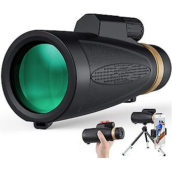 Monocular Telescope [12~16]* 60 Wide View High Definition Zoom with Retractable Eyepiece and FMC BAK4 Prism Waterproof Fog Proof with Smartphone Holder & Mini Tripod Match for Hiking Birding and More,(black)