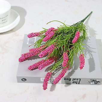 Artificial flowers flocked plastic lavender bundle fake plants wedding bridle bouquet indoor outdoor home kitchen office table
