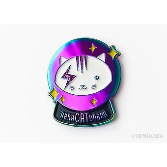 Magical Crystal Ball Rainbow Cat Enamel Pin- Abracatdabra