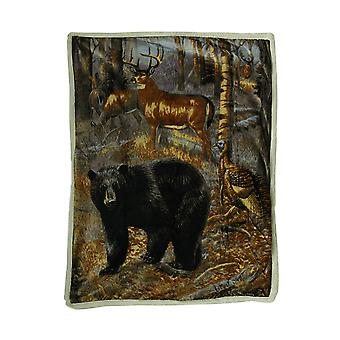 Sherpa Hunter Trophies Silk Touch Throw Blanket 60 Inches By 50 Inches