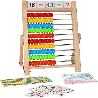 Kids learning toy, 10-row wooden frame abacus with multi-color beads mz984