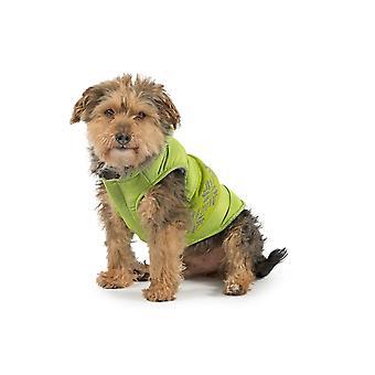 Dog apparel muddy paws nordic dog coat green small