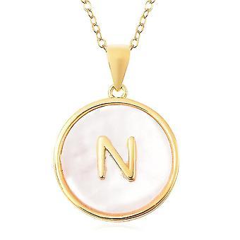 Perlmutt Initial N Halskette Vergoldet Silber Alphabetischer Schmuck 18''