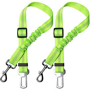 Set van 2 auto veiligheidsgordels voor honden, met schokdemping en verstelbare elastische karabijnhaak voor honden bovenste veiligheidsharnas voor alle honden en katten, groen