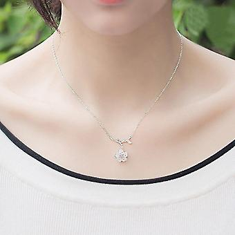 Real Genuine 925 Sterling Silver Necklace Pink Crystal Cherry Blossoms Flower Pendants |Necklaces