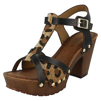 Ladies Savannah High Platform Wood Clog Cheetah Print Sandals F10561