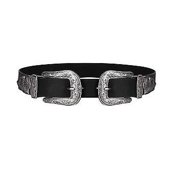 KRISP Womens Double Buckle Thick Quality Faux Leather Western Belt Ladies Waist Band