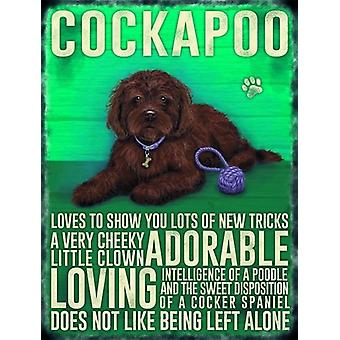 Large Wall Plaque 400mm x 300mm - Brown Cockapoo by The Original Metal Sign Co