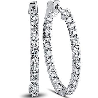 """1 1/2 ct Diamond Inside Outside Hoops Vault Lock 1"""" Tall 14k White Gold"""