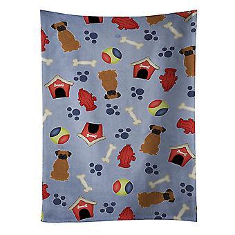 Carolines skarby BB2730KTWL Dog House kolekcja bokser pręgowany Ręcznik kuchenny