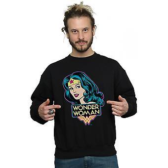 DC Comics Men's Wonder Woman Head Sweatshirt