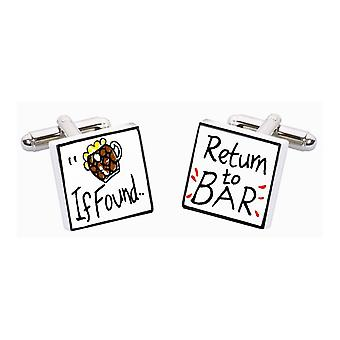 If Found, Return to Bar Cufflinks by Sonia Spencer, in Presentation Gift Box. Hand painted