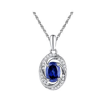 Lab Created Blue Sapphire 1.20 Carat (ctw) Drop Pendant Necklace in 10K White Gold with Diamonds 1/10 (ctw) and Chain