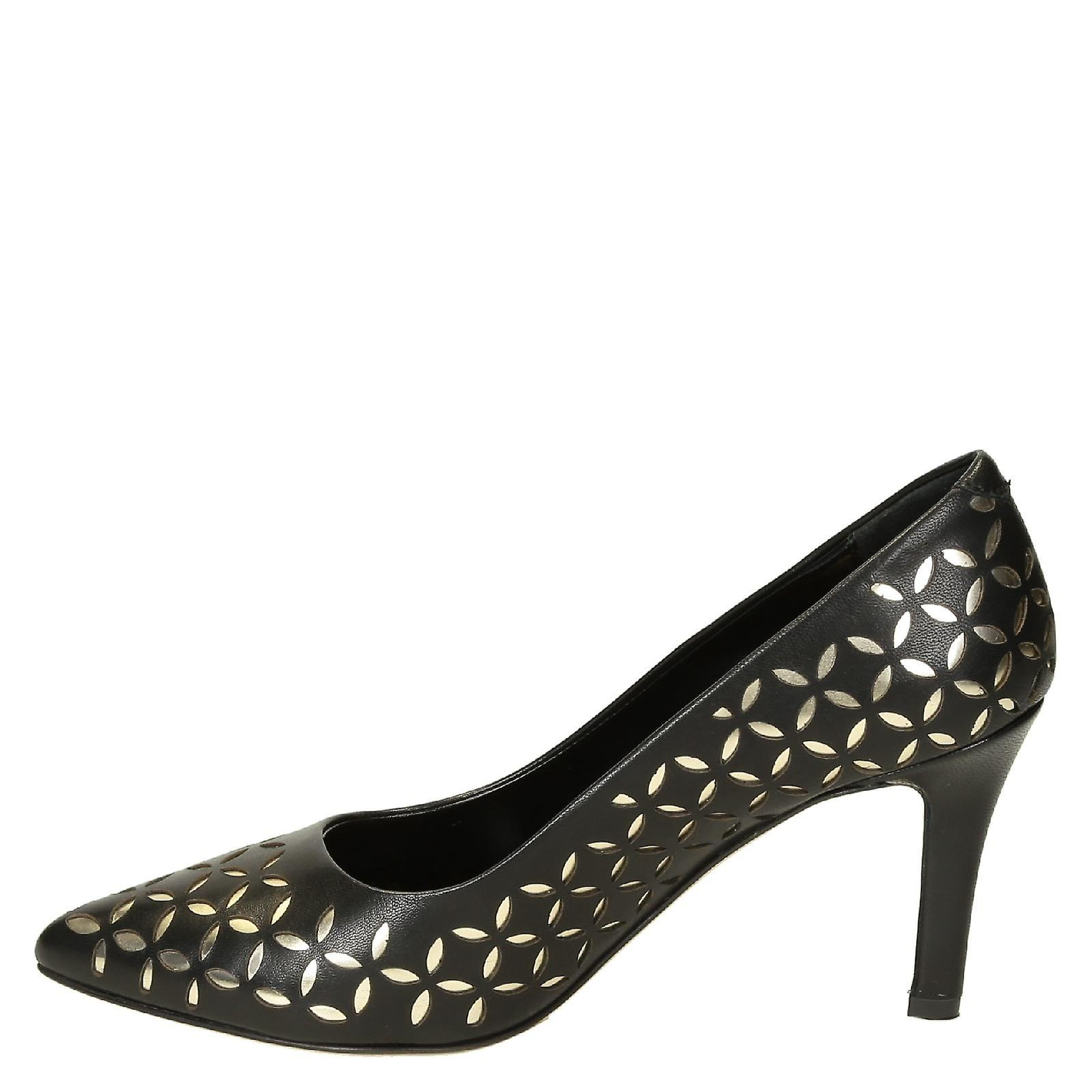 Black Leather Pumps Pointed Toe With Silver Texture