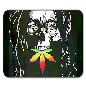 Crâne Marley contre les mauvaises herbes Rasta anti-dérapante souris tapis Pad 24 x 20 cm | Wellcoda