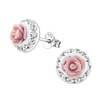 Rose - 925 Sterling Silver Crystal Ear Studs - W27597x