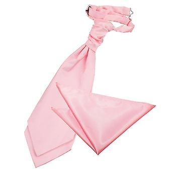 Baby Pink Plain Satin Hochzeit Cravat & Einstecktuch Satz