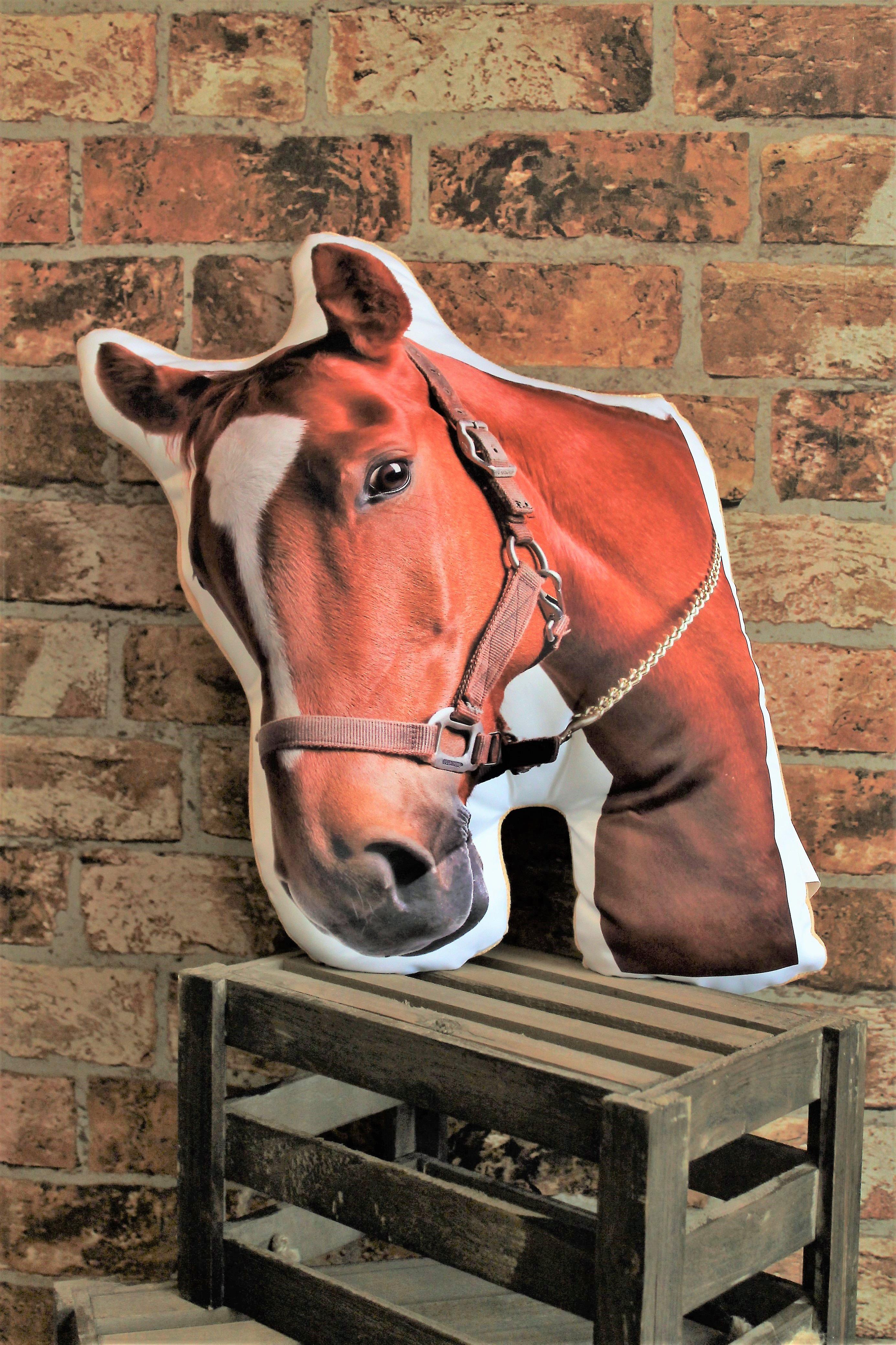 Adorable chestnut horse shaped cushion