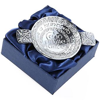 Ceud Mile Failte - Hundred Thousand Welcomes Scottish Mini Pewter Quaich Bowl