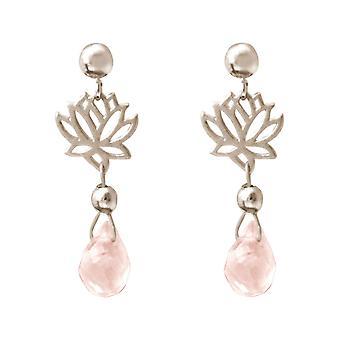 GEMSHINE kvinnors Örhängen i silver YOGA Mandala Lotus blommor rosa