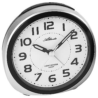 Atlanta 1954/19 alarm clock quartz analog silver quietly without ticking with light Snooze