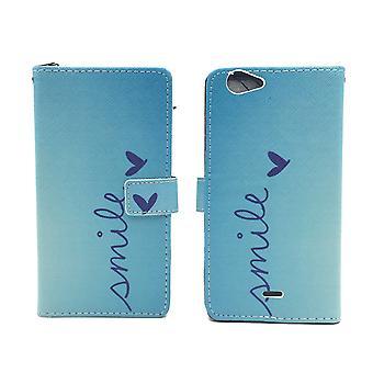 Sachet de cas téléphone mobile de la pâte de WIKO mobile Fab 4 G logo sourire Blau