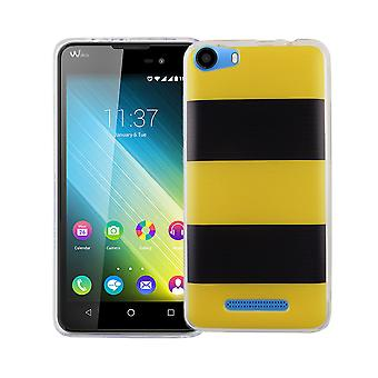 Cas de téléphone portable pour boîtier protecteur de WIKO Lenny 2 couverture sac silicone slim motif TPU jaune / noir