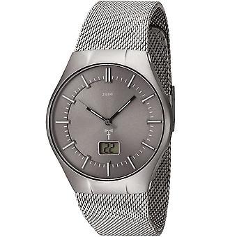 JOBO men's wristwatch radio radio clock grey stainless steel men's watch with date