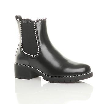 Ajvani womens low block heel studded elastic chelsea riding ankle boots