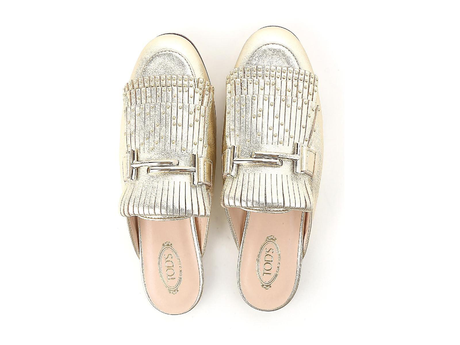 Tod's Flat Close Slide Sandals Shoes In Gold Metllic Leather