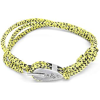 Âncora e tripulação Tyne prata e pulseira - Noir amarelo da corda