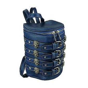 Biker Skulls and Buckles Studded Barrel Backpack Purse