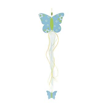 TRIXES Hanging Blue Butterfly Wooden Pretty Decoration 46cm