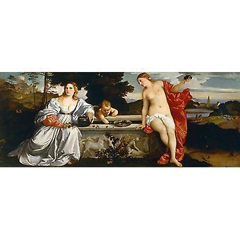 Sacred and Profane Love, Titian, 80x40cm