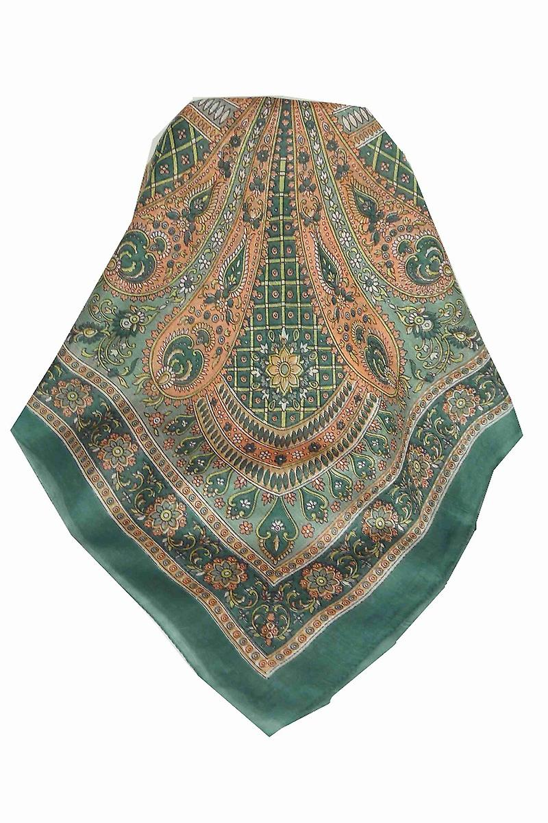 Mulberry Silk Traditional Square Scarf Vaan Slate by Pashmina & Silk