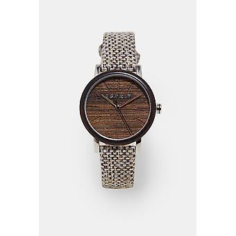 ESPRIT Damen Uhr Uhren analogen Sperrholz leichte braune Leinwand Quarz
