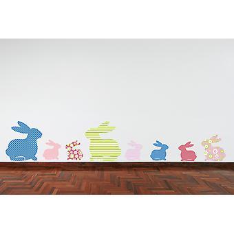 الأرانب كامل اللون الوردي ملصق حائط أخضر أرجواني أزرق