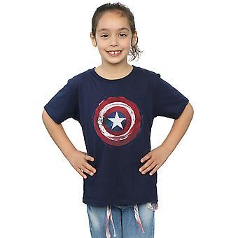 Marvel Girls Captain America Splatter Shield T-Shirt