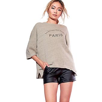 SHN Green Oversized T-Shirt With 'Paris' Slogan