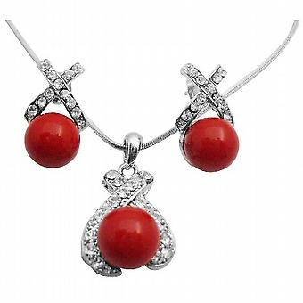 Best Deals On Shell Pearls Pendant Earrings Set Beautifuly Red Color