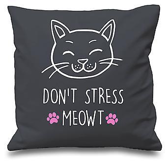 Grey Cushion Cover Cat Don't Stress Meowt 16