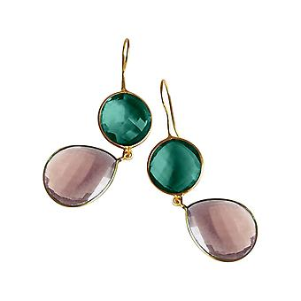 Gemshine earrings rose quartz and tourmaline drops in 925 silver or gold plated