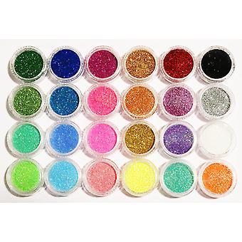 24 pc's glitter voor nagel decoratie