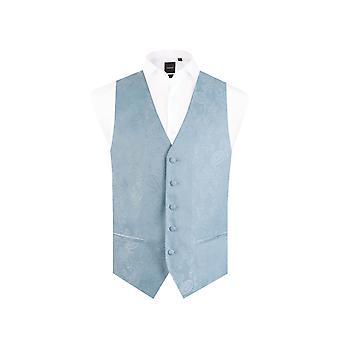 Dobell Boys Light Blue Paisley Waistcoat Regular Fit Wedding