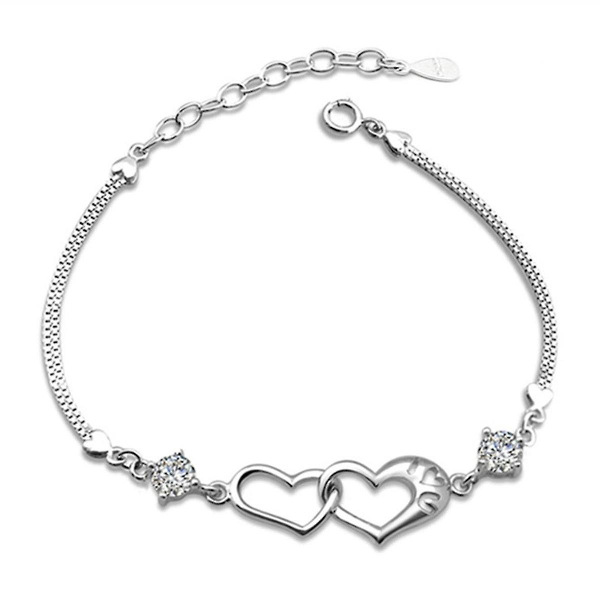 925 Sterling Silver Solid Double Heart Bracelet With Stones With Free Studs