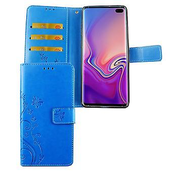 Samsung Galaxy S10 Plus Handy Hülle Schutz-Tasche Cover Flip-Case Kartenfach Blau