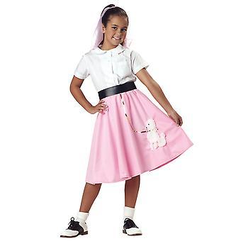 50s Grease Rock N Roll Old School 1950'lerde Kız Kostüm Pembe Kaniş Etek