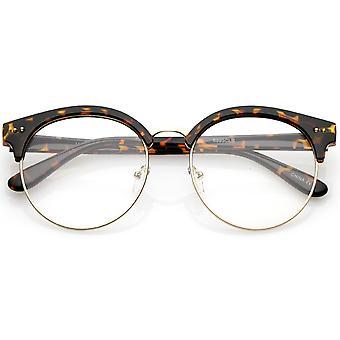 Klassische Horn umrandeten runden klar flache Linse Halbformat Brillen 55mm